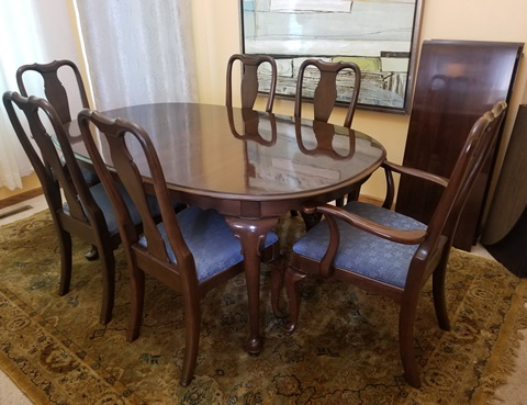 new product bb285 7fdec Ethan Allen Dining Table with 6 Chairs - Marva's Place